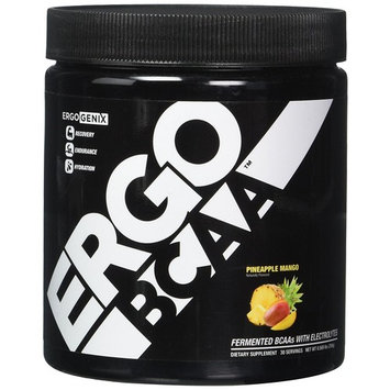 ErgoGenix ErgoBCAA BCAA Fermented Vegan Branched Chain Amino Acid Powder 2:1:1 Ratio for Recovery and Hydration - 30 Servings - Pineapple Mango Flavor [Pineapple Mango]