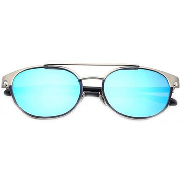 OWL Eyewear Sunglasses 86026 C6 Women's Metal Fashion Silver Frame Blue Mirror Lens