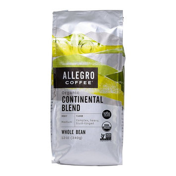 Allegro Coffee Organic Continental Blend Whole Bean Coffee, 12 oz