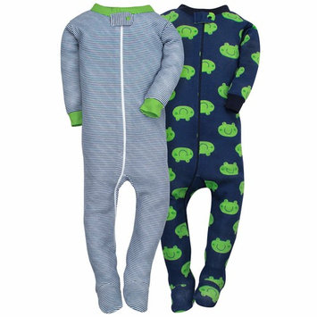 Baby Boy Assorted Prints Cotton Footed Unionsuits, 2-pack