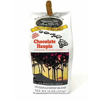 Hawaiian Isles Kona Coffee Co. Ground Chocolate Haupia New Limited Edition 10 oz