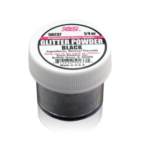 1/4 Ounce Black - Glitter Acrylic Powder by Sassi for Beautiful Nails