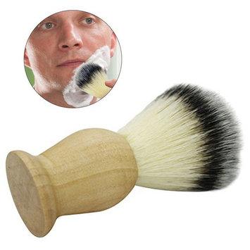 Frcolor Synthetic Nylon Bristles Mustache Beards Brush Natural Wooden HandleSoft Boar Bristles Facial Care Hair Wet Shaving Brush for Men