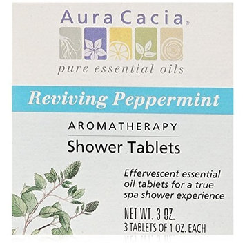 Aura Cacia Aromatherapy Shower Tablets, Reviving Peppermint, 3 ounce by Aura Cacia