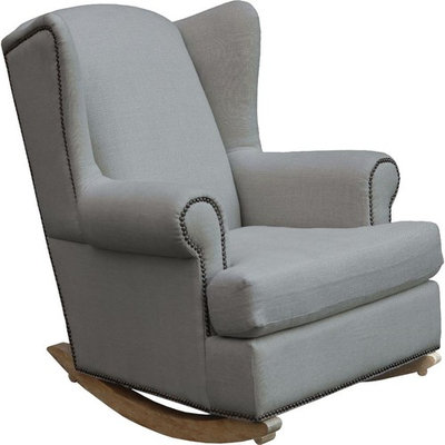 Shermag Deluxe McKinley Rocker Chair - Driftwood Finish /Silver Fabric