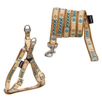 Touchdog Caliber Designer Dog Leash And Harness Brown Pattern