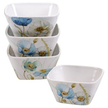 Certified International The Greenhouse Poppies Glazed Ceramic Ice Cream Bowls (22oz) White - Set of 4