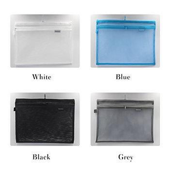 Kinhshion Mesh Zipper Pouch, 3 PCS, Double Layer Zipper Bag Clear Zipper Pouch Small Organizer bag Zipper Folder Bag Cosmetic Bags Travel Storage Bags, 3 Bags/Package, Colour Random. (A4)