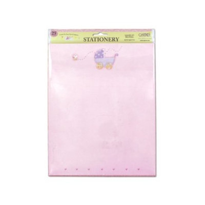 25 pack baby carriage w-hearts pink stationery - Pack of 72