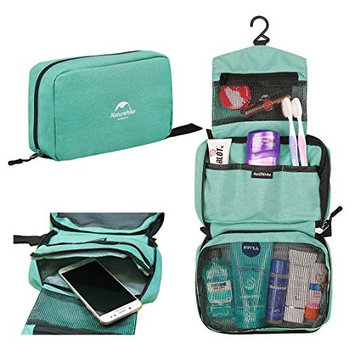 Cosmetic Case Organizer Bag for Travel - Makeup Toiletry Train Cases for Women & Men - Portable Make up Bags for Traveling Accessory with large capacity - GREEN with hook