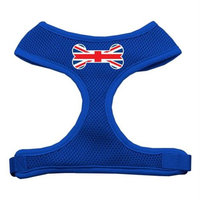 Mirage Pet Products Bone Flag UK Screen Print Soft Mesh Dog Harnesses, Medium, Blue