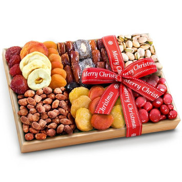 Golden State Fruit Merry Christmas Ribboned Sweet Extravagance Dried Fruits and Nuts Tray
