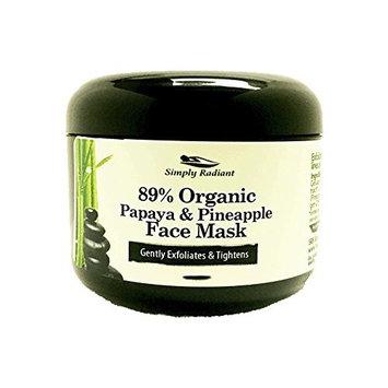 Organic Papaya & Pineapple Enzyme Facial Mask for Sensitive Skin. Hydrates, Tones, Moisturizes & Rejuvenates
