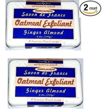 Trader Joe's Ginger Almond Oatmeal Exfoliant Soap (Pack of 2 Bars) - A Luxurious French Recipe