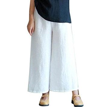 Clearance Wensy Women Summer Elastic Waist Plain Harem Pants Wide Leg Baggy Trouser Linen Pants