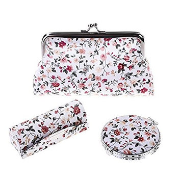Rocutus 3pcs/Set Flower Embroidered Kiss-lock Coin Purse Wallet Cosmetic Organizer Include Kiss-Lock Clasp Clutch Purse Butterfly Closure Mirror Snap Button Lipstick Case