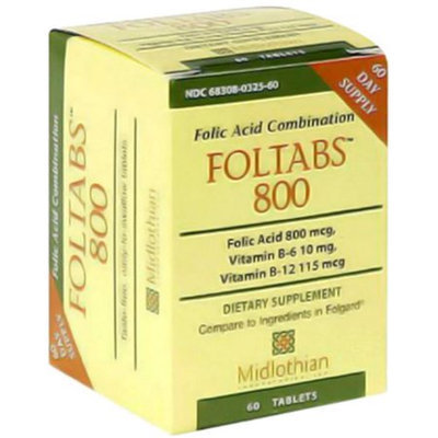 Midlothian Foltabs 800 mcg, 60 Tablets