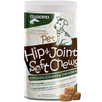 OxGord Glucosamine Chondroitin Hip Joint All Natural Soft Chews - 240ct Pet Supplement for Dogs Cat Advanced Level 2 Formula