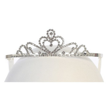 Silver Heart Rhinestone Princess Tiara Headpiece