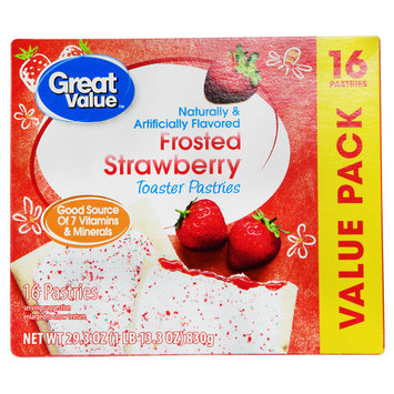 Great Value Frosted Toaster Pastries, Strawberry, 29.3 Oz, 16 Ct (Pack of 3)