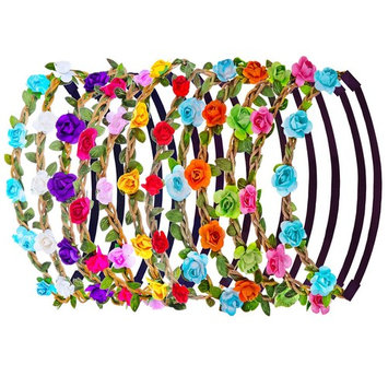 eBoot 12 Pieces Multicolor Rose Flower Headband Women Girl Fashion Floral Crown Garland Headbands with Elastic Ribbon