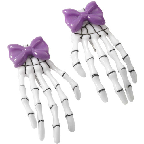 Pirate or Gothic Accessory Purple Bow Skeleton Hand Hair Clip Barrettes