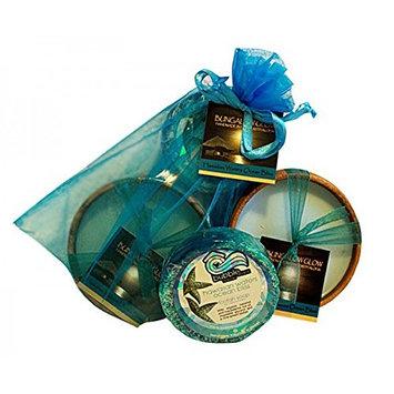 Hawaiian Bubble Shack Loofah Soap & Monkeypod Candle Gift Set Ocean Bliss
