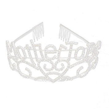 Metal Silver Tiara, Mother To Be Hearts Crown with Sparkling Rhinestones for Baby Shower Future Expecting Mom Accessory and Decorations Gift