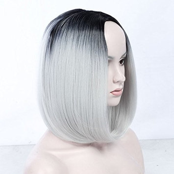 Ombre Bob Wig Dark Roots - Black to Grey Short Wigs Heat Resistant Synthetic Natural Straight Hair Shoulder Length Full Wig No Bangs for Women (ombre black/gray)