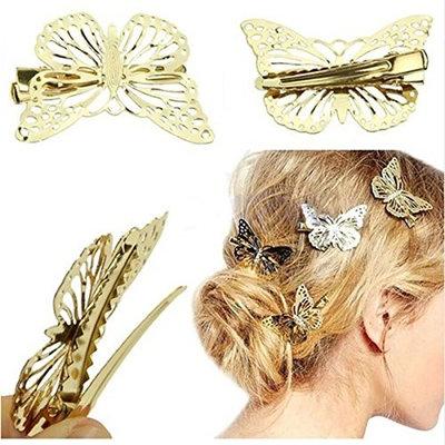 4PCS Golden Hollow Metal Butterfly Hair Clip Hair Accessories Bride Headwear Hair Clips