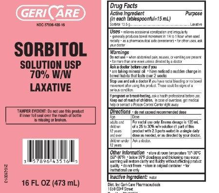 McKesson Brand GeriCare Sorbitol Liquid Laxative Solution 70% W/W 16 oz Bottle - 1/EA 4 Pack