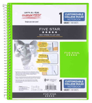 Five Star 1 Sub Ntbk w Clearview Cover CR, Lime