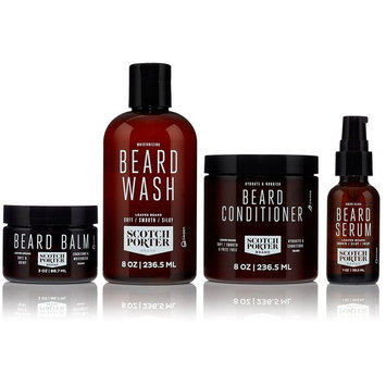 Scotch Porter - Beard Collection. Men's Beard Kit with Premium Beard Wash, Conditioner, Balm, and Smoothing Serum (3 month supply)