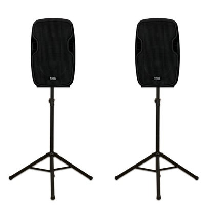 Acoustic Audio By Goldwood Acoustic Audio AA85UB Active 1200 Watts Bluetooth Powered Rechargeable Speaker Pair 2 Way and Stands