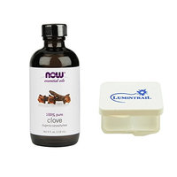 NOW Foods Essential Clove Oil Pure Eugenia Caryophyllata 4 oz Bundle with a Lumintrail Pill Case