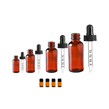 Natura Bona Essential Oil Supplies and Accessories. Glass Dropper Bottles; Pack of 4 Amber Glass Calibrated Dropper Bottles (.5oz, 1oz, 2oz, 4oz) and 4 Amber Glass Euro Droppers; 6ml.