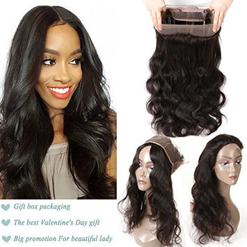 Brazilian Body Wave Hair with 360 Lace Frontal Closure 100% Unprocessed Virgin Hair with 22 x4 x2 Frontal Elastic Natural Hairline Natural Color (14inch)