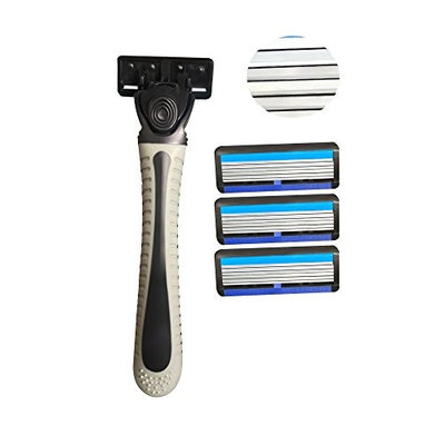 Disposable Razors for Men 6 Blades Shave for Sensitive Skin with Case and Refills Shaving Blade Bulk for Hotel Restaurant Travel Shower Hairs by LLAMEVOL Black