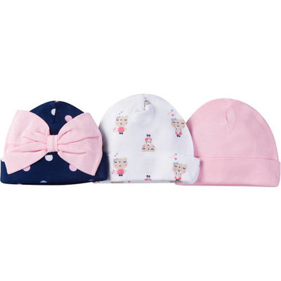 born Baby Girl Assorted Caps, 3-Pack [baby_clothing_size: baby_clothing_size-0-6m]