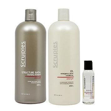 Scruples Structure Bath Volumizing Shampoo & ER Emergency Repair Conditioner 33.8oz & Renewal Hair Therapy Polish 2oz