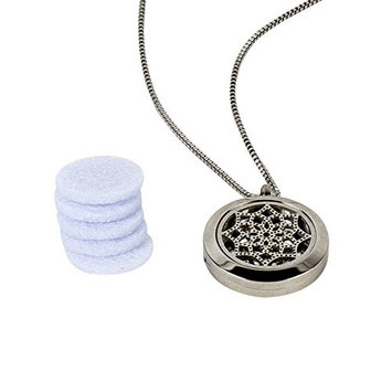 Lotus Flower of Life Aromatherapy Essential Oil Diffuser Necklace~Pendant Scents 316I Stainless Steel Locket Jewelry Gift Set on 18 Inch Chain with Silver Disco Balla Studs