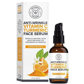 Beauty Foundry Anti-Wrinkle Vitamin C Organic Turmeric Face Serum, Reveals Natural Glow, Reduce Wrinkles, Brightens Skin Visible Results for all Skin Types 1oz/30ml