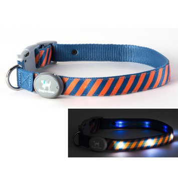Dog-e-glow Light Up LED Dog Collar - Patented Light Up Durable Glowing Collar for Puppies and Dogs - by Dog e Glow (Orange Stripes, small 8