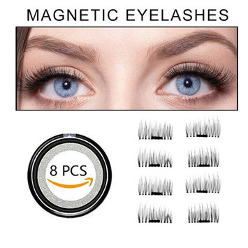 False Eyelahes 3D Magnetic Fake Eyelashes Natural Fiber Reusable False Lashes No Glue 8pcs