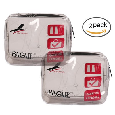 Bagail TSA Approved 3-1-1 Airline Carry On Clear Travel Toiletry Bag PVC Travel Bath Wash Bag Holder Pouch