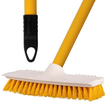 3 Pack Of Yellow Stiff Bristled Deck Sweeping Brushes With A Metal Handle For Decking, Patios, Tiles & Stables - Comes With TCH Anti-Bacterial Pen!