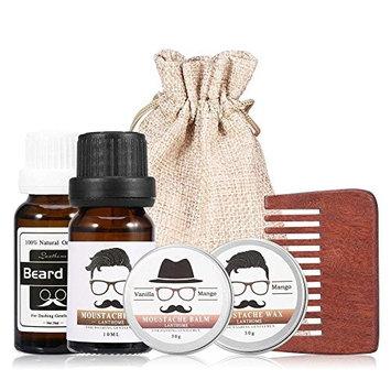 Beard Care Kit Men Grooming Set Moustache Oil Balm Moisturizing Wax Beard Care Gift Kit