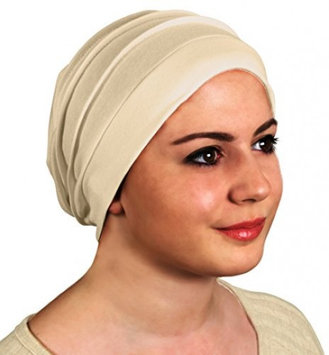 Holdem Slouchy Turban Hat - Chemo Cap for Cancer Patients Comfort Luxury Design Ultra Durable Soft Blend Material-Beige
