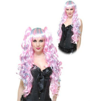 Womens Deluxe Neon Blue Pink Cotton Candy Anime Princess Removable Ponytail Wig