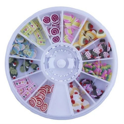 Brendacosmetic 6 PCS 3D Nail Art Decorations Wheel Box, Colorful Sticker for Nail Tips and Cellphone Case